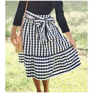 J. Crew • tie waist gingham midi skirt